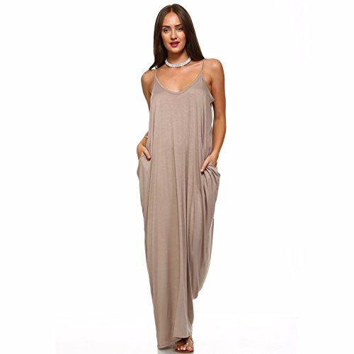 Isaac Liev Women's Casual Maxi Dress with Pockets (Medium, Mocha)