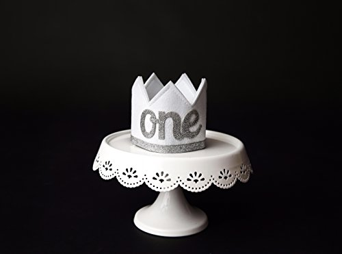 Baby Girl and Boy FIRST BIRTHDAY Sparkly Silver ONE Crown I Am 1 by Birdy Boutique (Image #1)