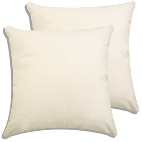 Ivory Solid Velvet Throw Pillow Cover/Euro Sham/Cushion Sham Super Luxury Soft Pillow Cases - (20