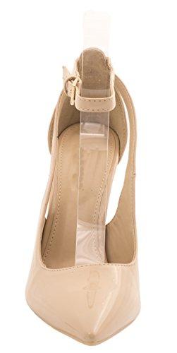 moderna color Elara High stilettos carne Pumps Cómodo Heels Punta barniz rr8pqwE
