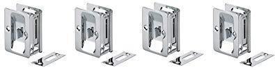 Richelieu Hardware 1701CPSBC Pocket Door Pull with Privacy Lock - Rectangular Chrome (4-(Pack))