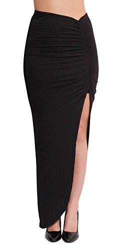 Jersey Simple Maxi En Femmes De Divis Ruched Viscose C Style Noir Stretchy Jupe t Rqq4aSY