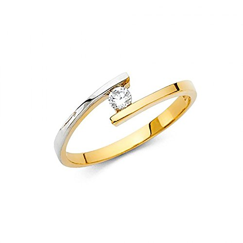 (14K Two Tone Gold Tension Set CZ Ring)