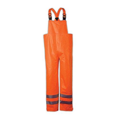 National Safety Apparel R40RQ14LG Arc H20 Bib Pant, FR Polyurethane Coated FR Cotton, Large, Orange