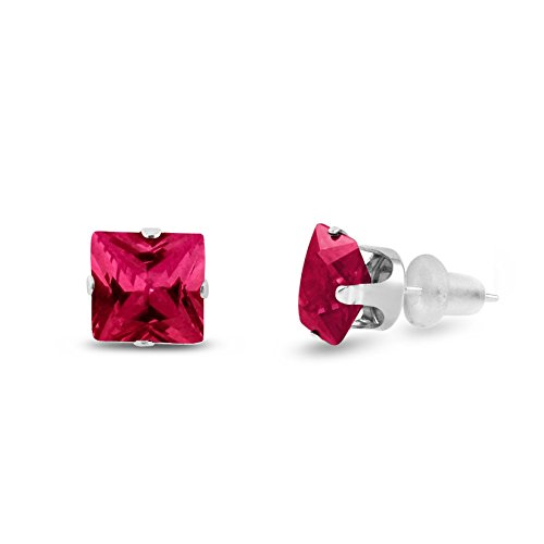 Lab Created 10x10mm Square Princess Cut Red Ruby Solid 10K White Gold 4-Prong Set Stud Earrings ()