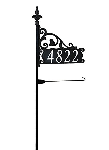 "Boardwalk 48"" Reflective Nightvision Address Sign with Garden Flag Post"