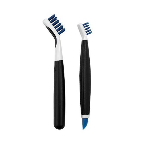 OXO Good Grips Deep Clean Brush Set 1 Set includes: Large Brush and Small Brush with Wiper Blade Large Brush is great for grout, shower-door tracks, stove tops and more Small Brush is perfect for fixtures and other tight spaces