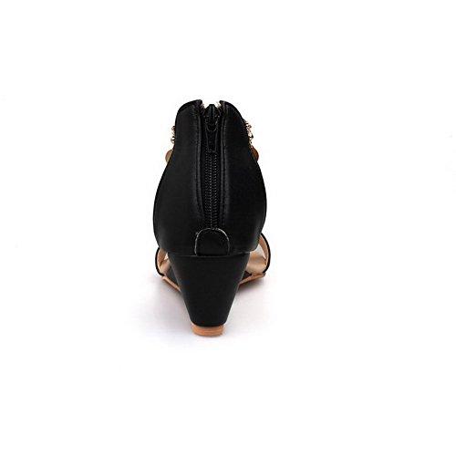 Femme Sandales à Ouverture Coin AgooLar Noir d'orteil Talon à Zip Correct RB0qdw