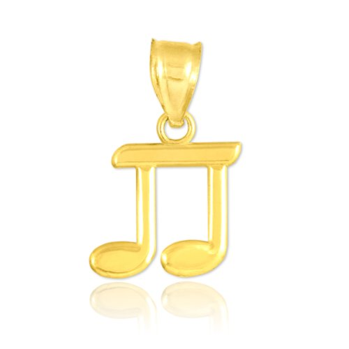 Guitar High Polish - High Polish 10k Yellow Gold Music Charm Beamed Eighth Note Pendant