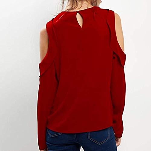 naivety Blouse Long Sleeve Strapless Casual Loose Chiffon Solid Color Shirt Women's Large by naivety (Image #1)