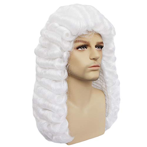 Anogol Free Hair Cap+White Curly Wig for Judge Cosplay Wig for Men Wig Synthetic Wigs for Lawyer -