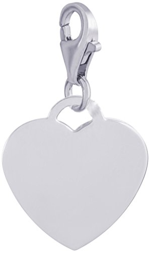 Engravable Heart - Rembrandt Charms, Classic Small Heart with Clasp.5mm Thick.925 Sterling Silver, Engravable