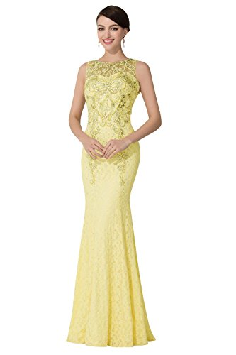 Dora Bridal Women Beaded Mermaid Lace Evening Formal Dress Gowns Size 4 US Daffodil