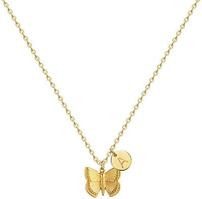Initial Butterfly Pendant Necklace Handmade product image