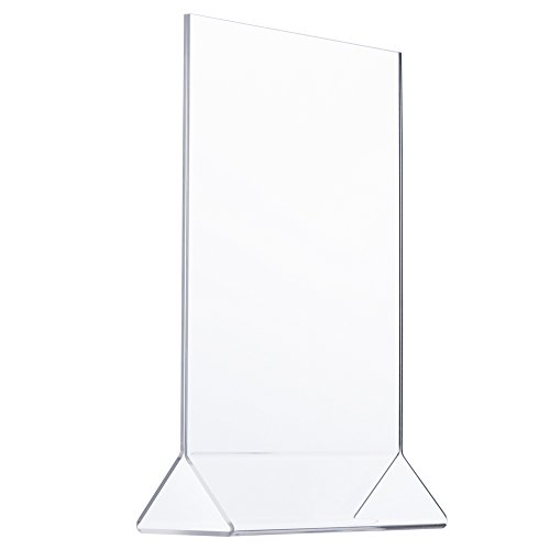 TWING Table Sign Display Holder - Ad Frame Brochure Holder - Clear Acrylic 8.5x11inches Pack of 6