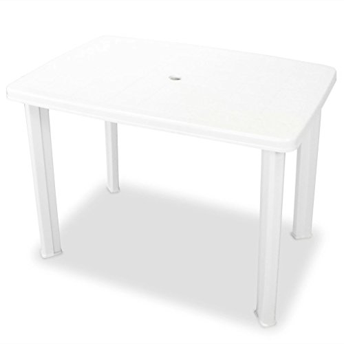 Festnight Outdoor Patio Dining Table with Umbrella Hole 39.8″x26.8″x28.3″ Plastic White