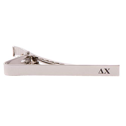 (Desert Cactus Delta Chi Fraternity Silver/Gold Engraved Letter Tie Bar Greek Formal Occasion Standard Length Width (Silver Letter Tie Bar))