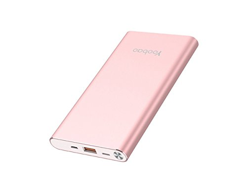 Yoobao 10000mAh Portable Charger Ultra Slim Power Bank External Battery Charger Powerbank (Micro & Lightning Dual Input) for iPhone X, iPhone 8 Plus/8, iPhone 7 6s 6 Plus iPad and More - Rose Gold