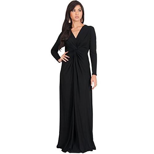 Koh Koh Womens Long Sleeve Semi Formal Fall Winter Flowy Gown Maxi