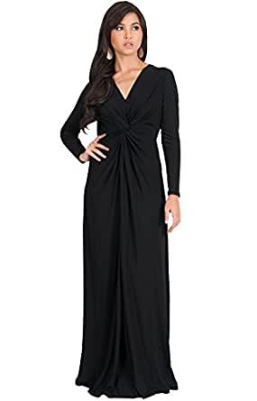 KOH KOH Petite Womens Plus Size Womens Long Sleeve Sleeves V-Neck Flowy Cocktail Formal Fall Winter Evening Abaya Muslim Gown Gowns Maxi Dress Dresses, Black XS 2-4