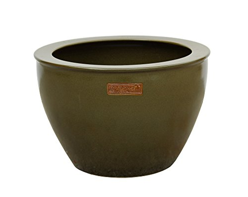 e Green Glazed Round Planter Pot Acs3534 (Chinese Olive)