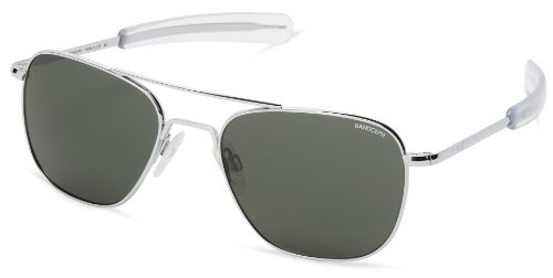 Randolph Aviator Square Sunglasses, 58, Bright Chrome, Bayonet, AGX - Glasses Sun Randolph
