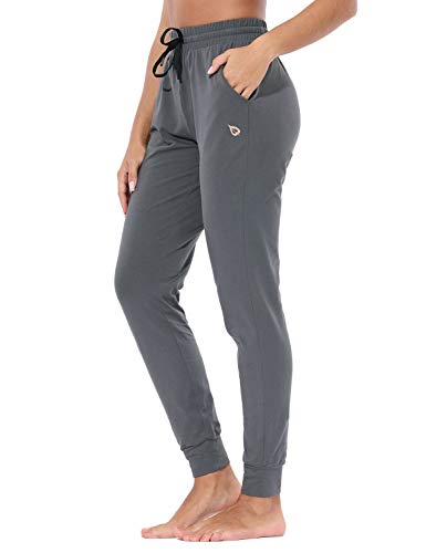 BALEAF Women's Lightweight Cotton Joggers Sweatpants Casual Lounge Pants Fitted Yoga Workout Pocketed Pants