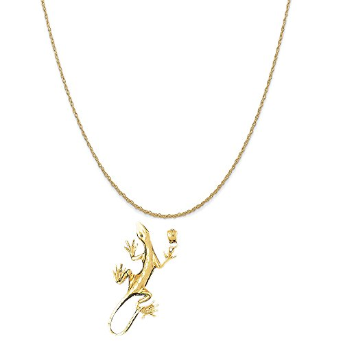 14k Yellow Gold Lizard Pendant on a 14K Yellow Gold Rope Chain Necklace, 18