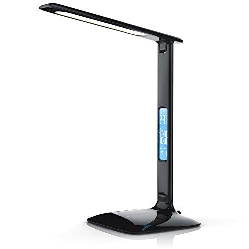 Brandson - dimmbare LED Schreibtischlampe | Augenschutz - 3 Lichtfarben (kalt/warm/neutralweiß) / 5 Helligkeitsstufen | Temperatur-, Alarm- und Kalenderfunktion | Touch-Bedienung (berührungsgesteuert) | schwarz