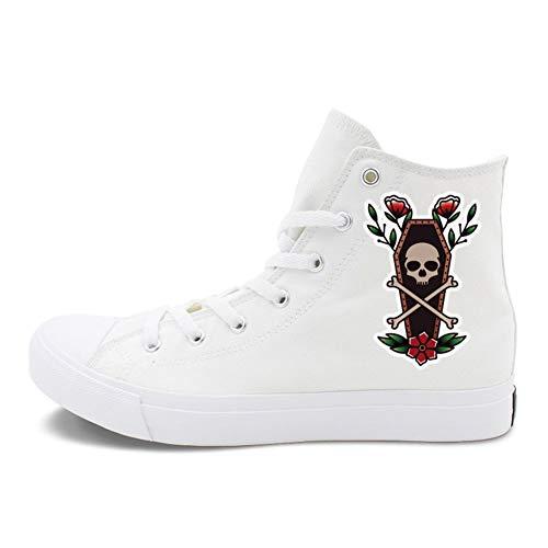 Exing Zapatos De La Mujer Lienzo De Verano Otoño Comodidad Zapatillas De Tacón Plano Cerrado Botines/Botines Negro/Blanco,A,43