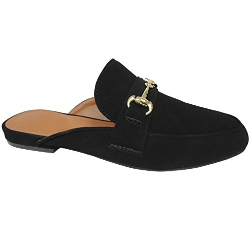 Snj Donna Mulo Oxford Slip Slip On Sandalo Scarpa Piatta Mocassino Nabuk Nero-1