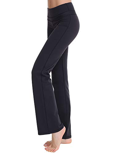 (Zeronic Women's Bootleg Yoga Pants Long Bootcut Workout Running Pants (XL) Black)