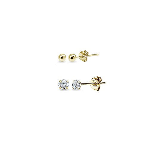 2 Pairs 14K Gold Unisex Mini Small Ball Bead and Tiny Round 2mm CZ Stud Earrings - Studs Earrings Piercing Second
