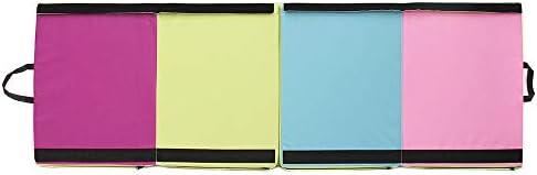 体操マット 70.86x23.6x1.96インチ4折りたたみ体操マットヨガエクササイズジムパネルタンブリングパッドクライミング (色 : マルチカラー, サイズ : 180x60x5cm)