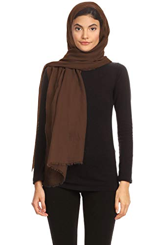 Abeelah Viscose Hijab Scarf - Full Head Scarf for Women - Plain Long Shawl - Islamic, Muslim, African and Indian Fashion Compatible (Brown)