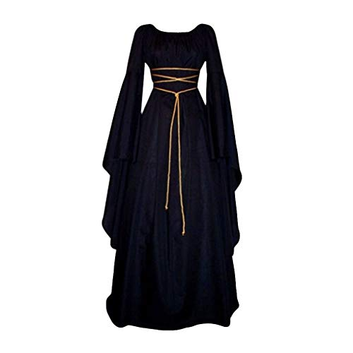miqiqism Fancy Dress for Women Plus Size Halloween Cosplay Costume Medieval Renaissance Irish Over Victorian Retro Gowns (M, Black)]()