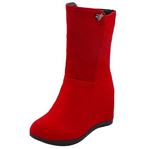 COOLCEPT Botas de Tacon Cuna para Mujer Red