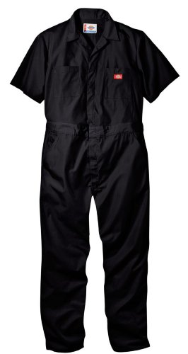 Dickies Men's Short Sleeve Coverall, Black, Large Regular - Mens Poplin Pull