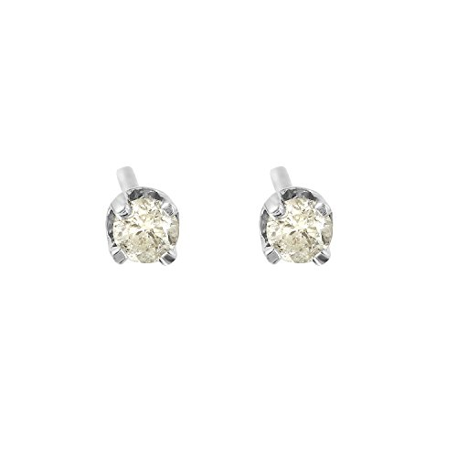 0.1 Carat Natural Diamond 14K White Gold Solitaire Stud Earrings for Women (0.1 Ct Gemstones)