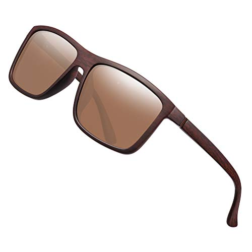 Polarized Sunglasses for Men Driving Mens Sunglasses Rectangular Vintage Sun Glasses For Men/Women Brown Lens/Woodgrain Frame