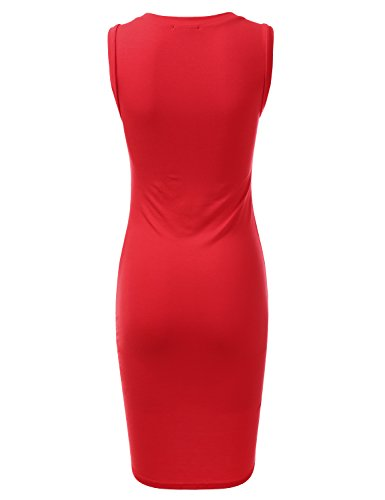 Women Dress with Hem in Size USA Awdsd0759 Tulip Stretchy Tank for red Doublju Plus Made Fitted Sq0RXwRT