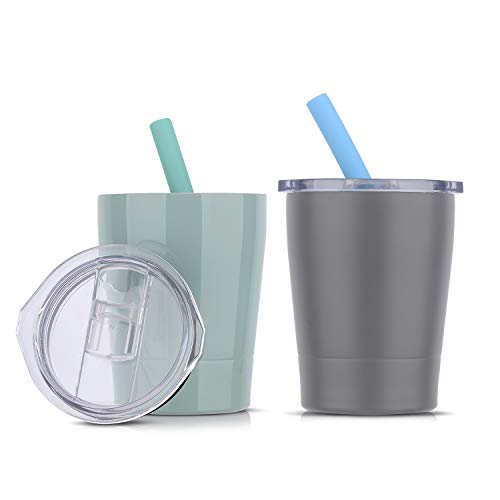 8.5oz Kids Tumbler Insulated Double Wall with Colorful Silicone Straws | Stainless Steel Sippy Cup with Lids and Straws | Unbreakable & BPA Free | Set of 2 (Green/Grey 2 Pack)