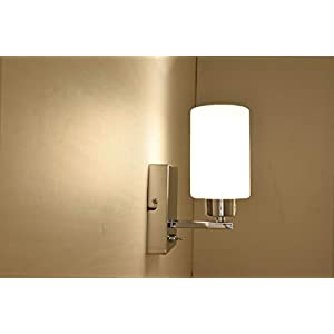 AUROLITE 1xE14 Wall Light with ON/Off Toggle Switch, Polished Chrome Finish, Oval Cylinder Shape Glass Shade, Suitable…