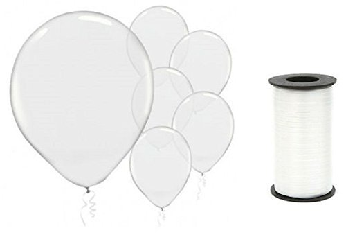 (72) Clear Transparent Latex 12 Inch Balloons and White Curling Ribbon Bundle