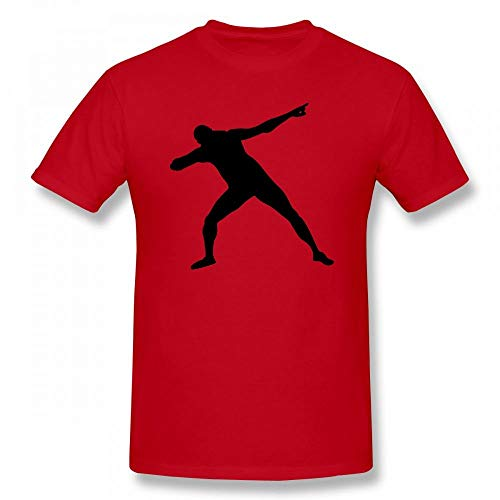 Usain Bolt Silhoutte Customizable Personalized Men's T-Shirt Tee Red (Best Of Usain Bolt)