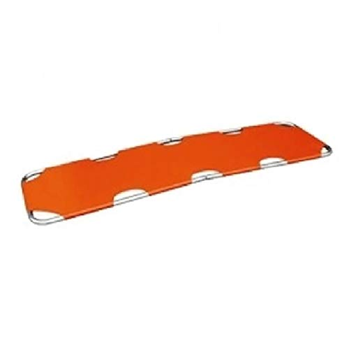 LINE2design Foldaway Portable Stretcher with Two Steel Bars - Medical Emergency Rescue Flat Stretcher - Lightweight Heavy Duty Travel Size Patient Transport - Orange