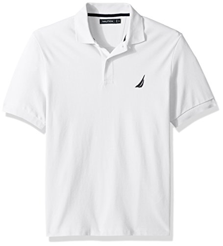 - Nautica Men's Short Sleeve Solid Cotton Pique Polo Shirt, Bright White, X-Large