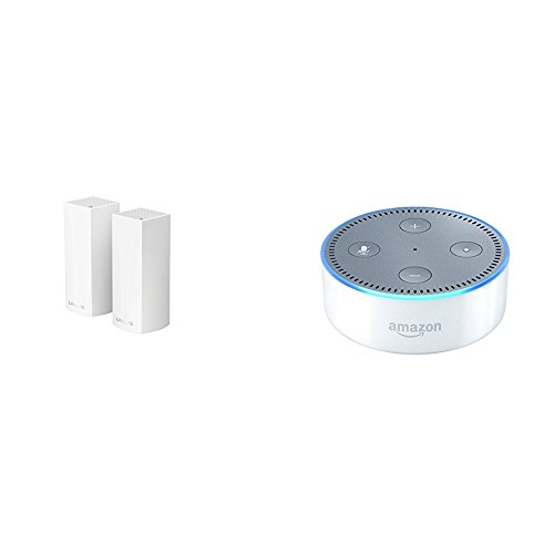 Price comparison product image Linksys Velop Tri-band AC4400 Whole Home WiFi Mesh System, 2-Pack with Amazon Echo Dot (2nd Generation) - White