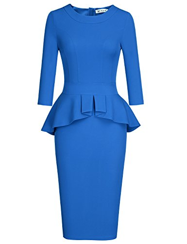 MUXXN Womens Classy Vintage Peplum Waist Casual Cute Juniors Tea Dress (Color Blue L)