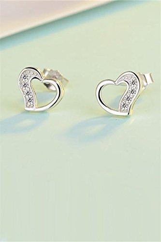 KENHOI Beauty s925 sterling silver heart-shaped gift unique fashion women crystal diamond earrings earings dangler eardrop pierced silver send girlfriend